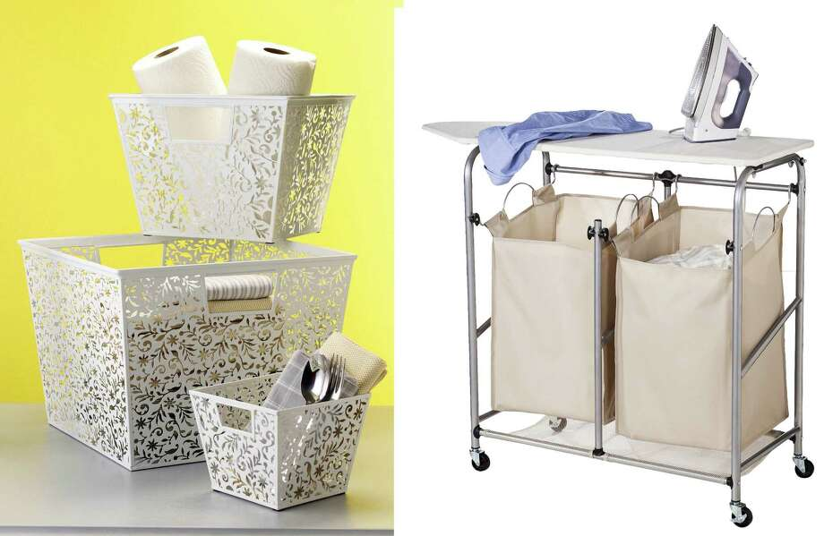 Vinea storage baskets (left) that can be used to hold laundry room supplies can be found on organize.com. A double sorter with ironing board from Target's new Threshold line retails for $60. Photo: Courtesy Of Organize.com, Target / Washington Post