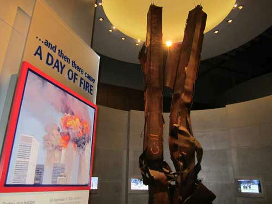 Twisted steel beams from the New York's World Trade Center are exhibited at the George W. Bush Presidential Library and Museum in Dallas. Staff/David Hendricks