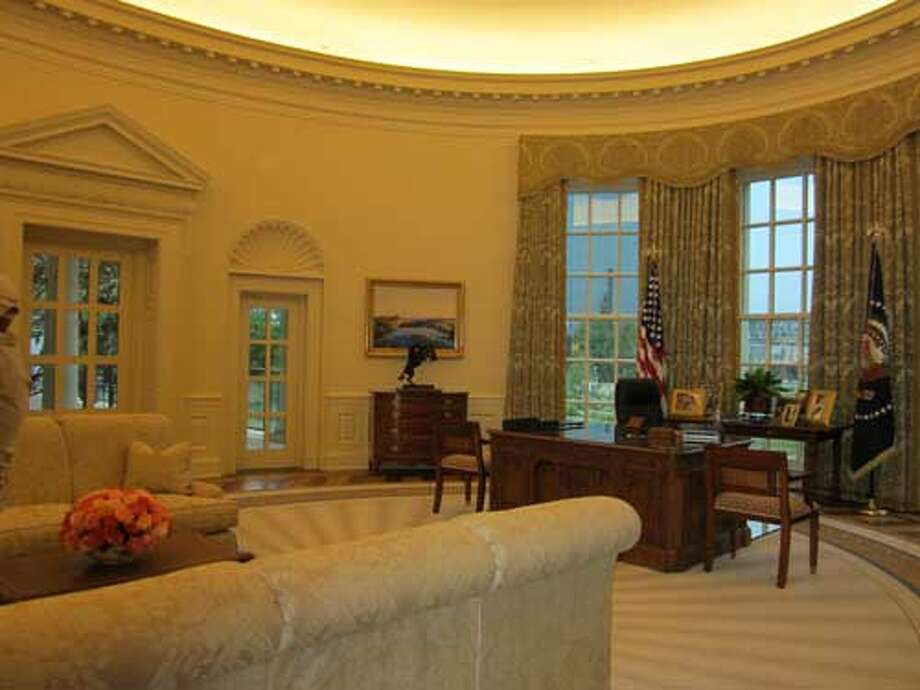 The Oval Office replica at the George W. Bush Presidential Library and Museum in Dallas is full sized. Staff/David Hendricks