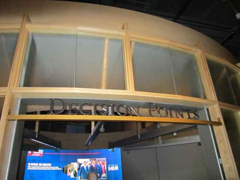 The Decision Points theater at the George W. Bush Presidential Library and Museum allows visitors to explore policy choices. Staff/David Hendricks
