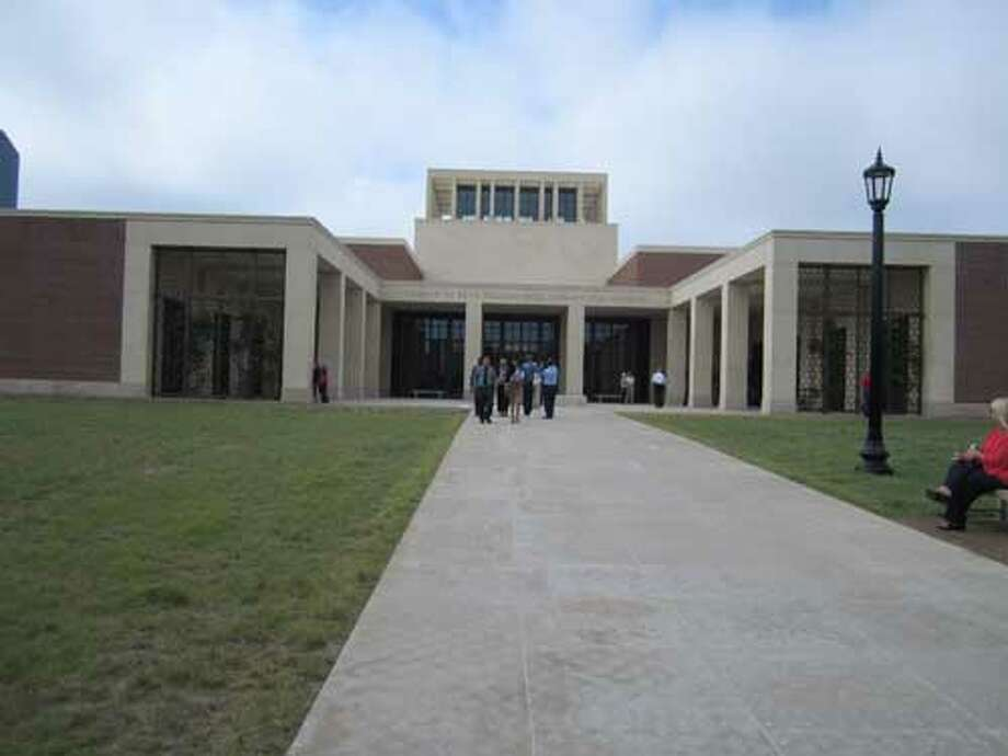 The entrance of the George W. Bush Presidential Library and Museum at Dallas' SMU campus. Staff/David Hendricks