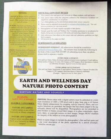 Rules for an earth and wellness day nature photo contest at a clothing swap is held in the University at Albany campus center ballroomon Thursday, April 18, 2013 in Albany, N.Y.  (Lori Van Buren / Times Union) Photo: Lori Van Buren