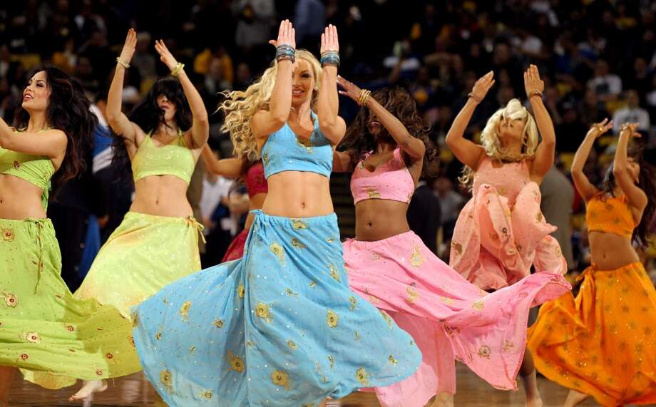 Golden State Warrior girls dance to music during a Warriors promotion named Bollywood Night at the Oracle Arena in Oakland, Calif. The Warriors lost to the Dallas Mavericks' 112-103 Thursday, April 12, 2012.