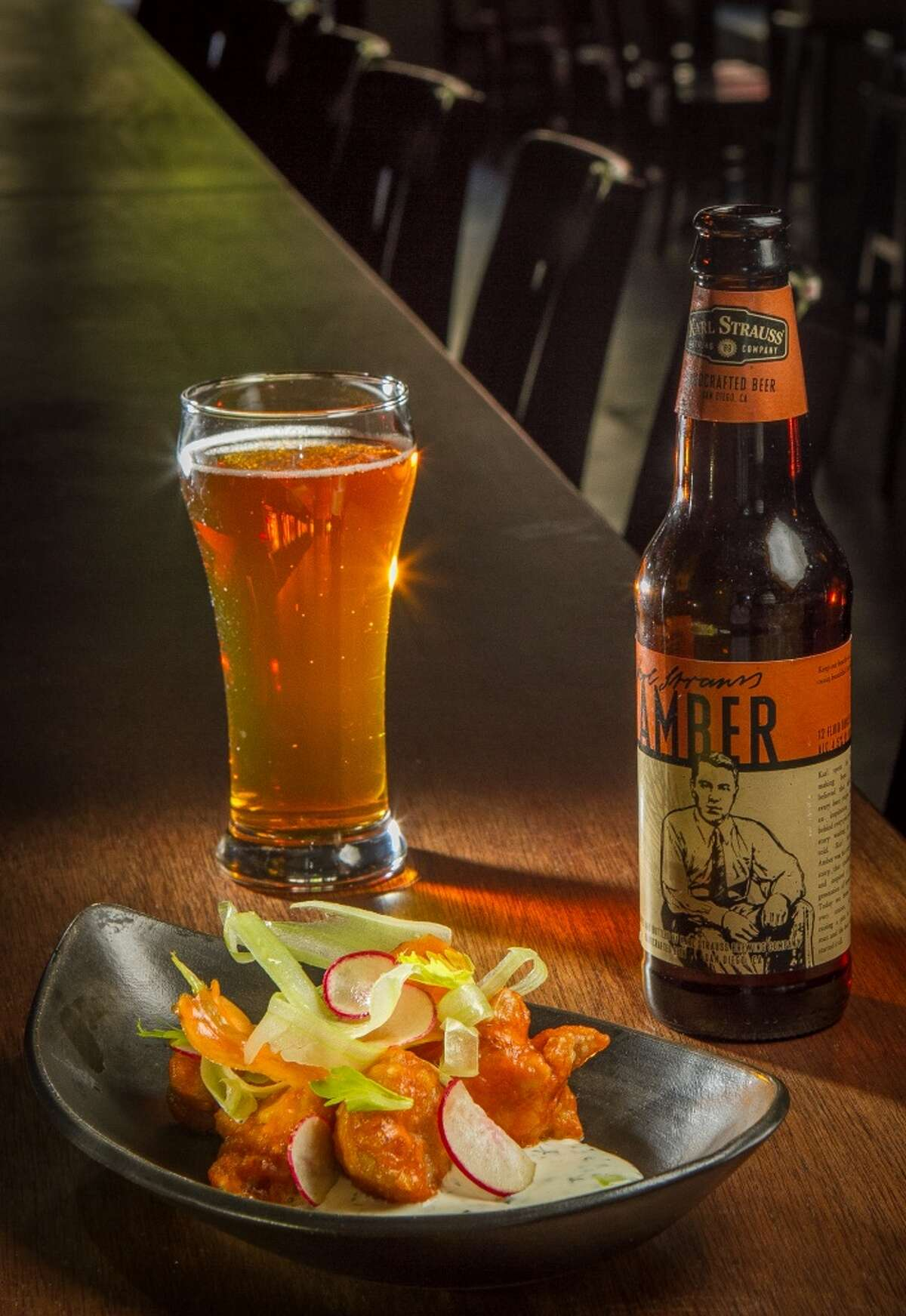 Sweetbreads, Buffalo Bob's Hot Sauce, Shaved Veg, Ranch ($12) with Karl Strauss Amber Lager ($5)