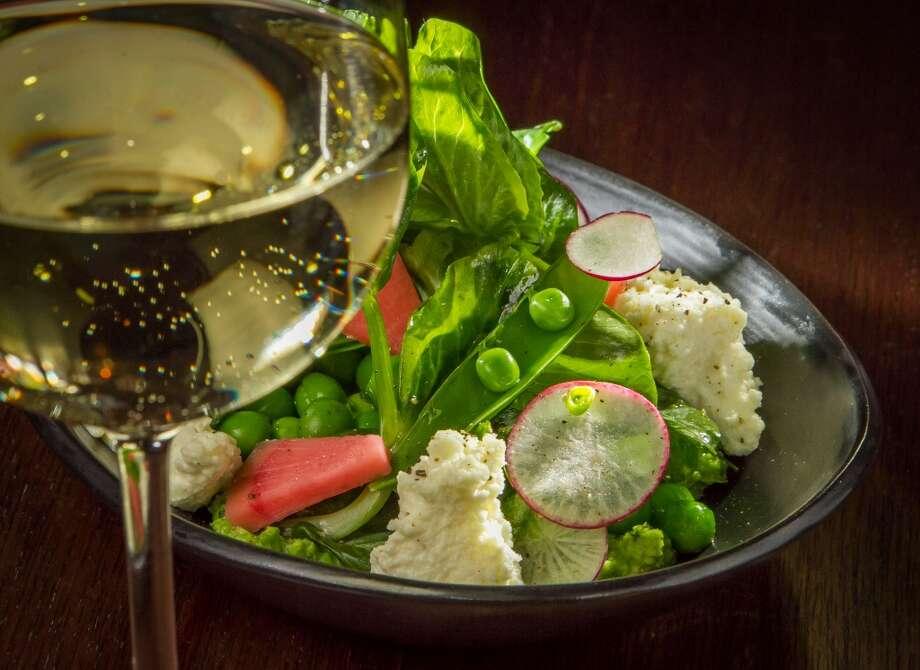 English Peas, Snap Peas, Radish, Ricotta, Ginger, Mint ($9) with  2011 Sauvignon Blanc, Régis Minet, Pouilly Fumé ($13)