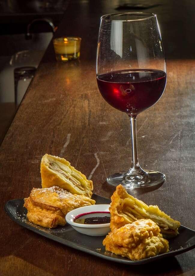 The Monte Sammy - Prosciutto, Turkey, Gruyere, Huckleberry Jam ($11) with Broc Cellars Mourvedre