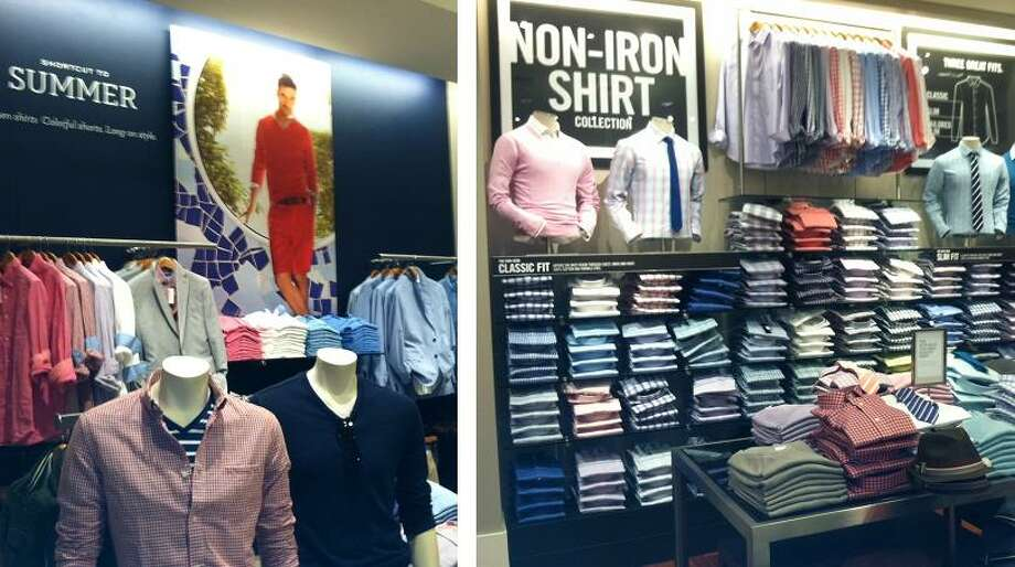 """May 8, 2013: The inside of the store now. Less hats and more wrinkle-free dress shirts. I asked one of the very friendly workers if they had any safari wear. She pointed me to a fedora that was more Season 2 """"Mad Men."""" Some beige socks were the closest thing I could find to the old BR."""