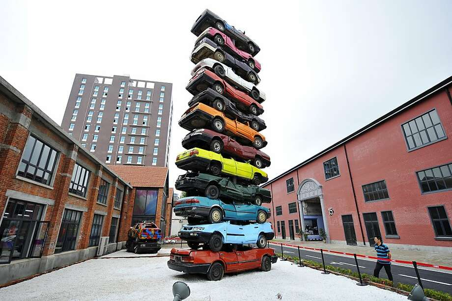 Also known as 'The Last Parking Space': This sculpture at Creative Culture Park in Wuhan, China, is called 