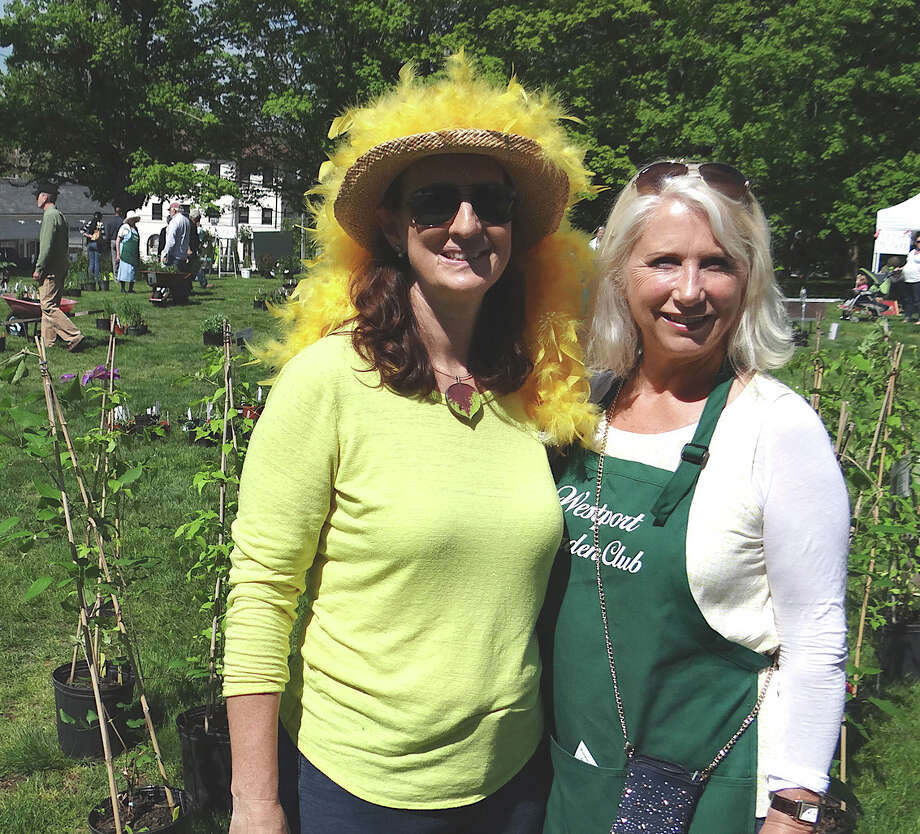 Ellen Greenberg and Jenny Clerkin, chairwoman and president, respectively, of the Westport Garden Club, at the group's annual plant sale Friday on the grounds of Saugatuck Congregational Church. Photo: Mike Lauterborn / Westport News contributed