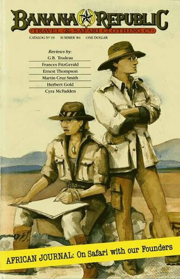Summer 1984: One of the Banana Republic catalogues during the safari years. Patricia Ziegler was an illustrator for the Chronicle and Mel Ziegler was a reporter. They carried on their respective roles with the catalogue. See the post for a recent photo of the Zieglers recreating this drawing.
