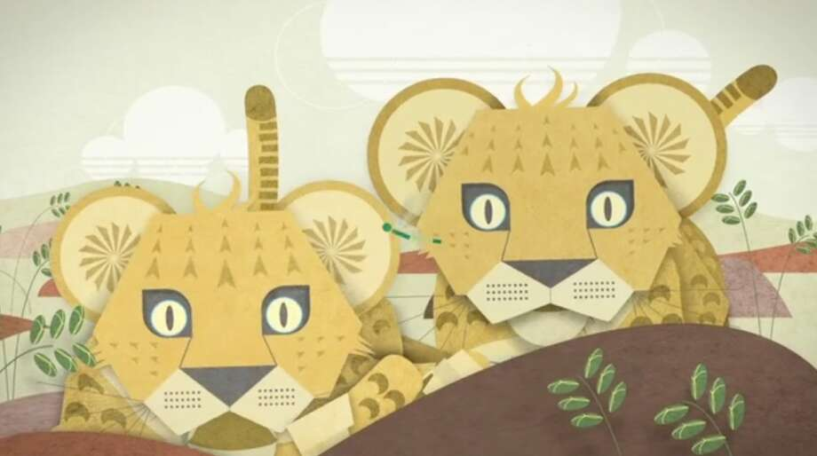 A depiction of lion cubs from the new ad campaign WDCW created for Woodland Park Zoo.