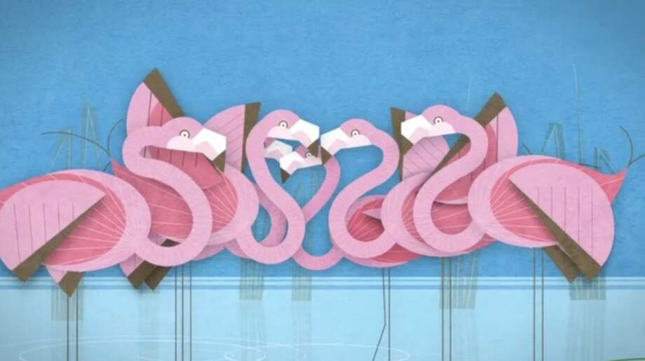 A depiction of flamingos from the new ad campaign WDCW created for Woodland Park Zoo.