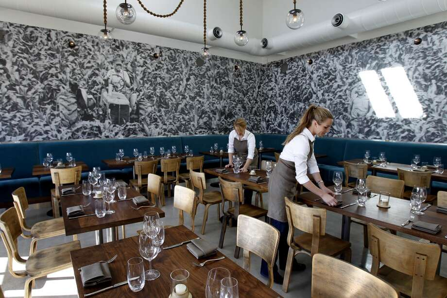 The Farmshop dining area features a huge mural photograph of a corn field..