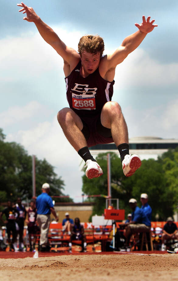 East Bernard's Ty Slanina competes in the 2A Boys Long Jump during the High School State Track meet at Mike A. Myers Stadium in Austin Friday, May 10, 2013, in Austin. Photo: Cody Duty, Houston Chronicle / © 2013 Houston Chronicle