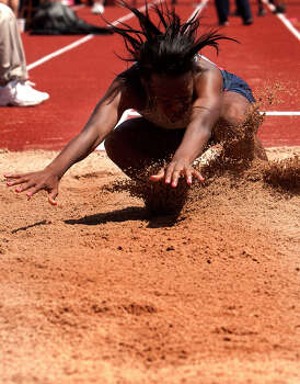 Pearland Dawson's Hailey Heuwitt competes during the 4A Girls Long Jump during the High School State Track meet held at Mike A. Myers Stadium in Austin Friday, May 10, 2013, in Austin. Photo: Cody Duty, Houston Chronicle / © 2013 Houston Chronicle