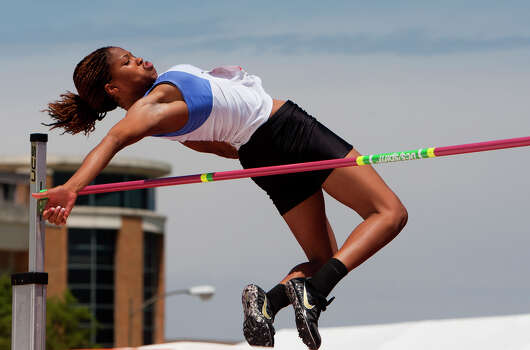 Bay City's Shaniya Mitchell jumps during the 4A Girls High Jump during the High School State Track meet held at Mike A. Myers Stadium in Austin Friday, May 10, 2013, in Austin. Photo: Cody Duty, Houston Chronicle / © 2013 Houston Chronicle