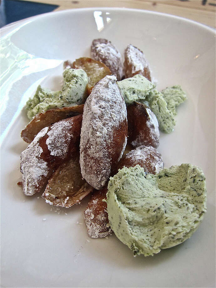 Yuca fritters with hoja santa ice cream at La Fisheria. Photo: Alison Cook