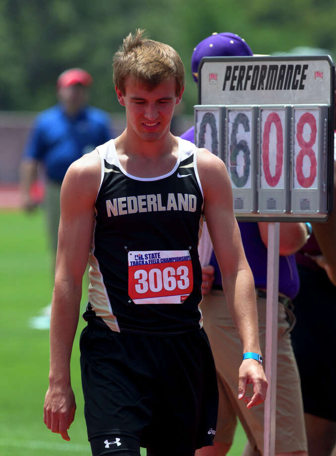 "Nederland's Jared Lorimier reacts after missing a 6'8"" jump during the 4A Boys High Jump held at the state track meet at Mike A. Myers Stadium in Austin Friday, May 10, 2013, in Austin. Photo: Cody Duty, Houston Chronicle / © 2013 Houston Chronicle"