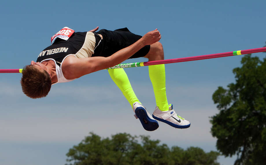 """Nederland's Jared Lorimier clears a 6'7"""" jump during the 4A Boys High Jump held at the state track meet at Mike A. Myers Stadium in Austin Friday, May 10, 2013, in Austin. Photo: Cody Duty, Houston Chronicle / © 2013 Houston Chronicle"""