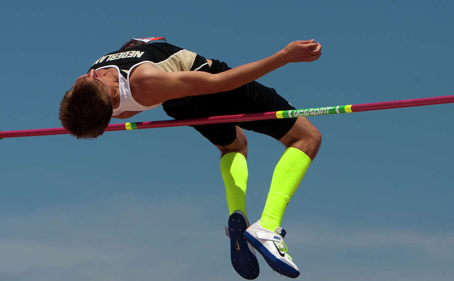 Nederland's Jared Lorimier clears a jump during the 4A Boys High Jump held at the state track meet at Mike A. Myers Stadium in Austin Friday, May 10, 2013, in Austin. Photo: Cody Duty, Houston Chronicle / © 2013 Houston Chronicle