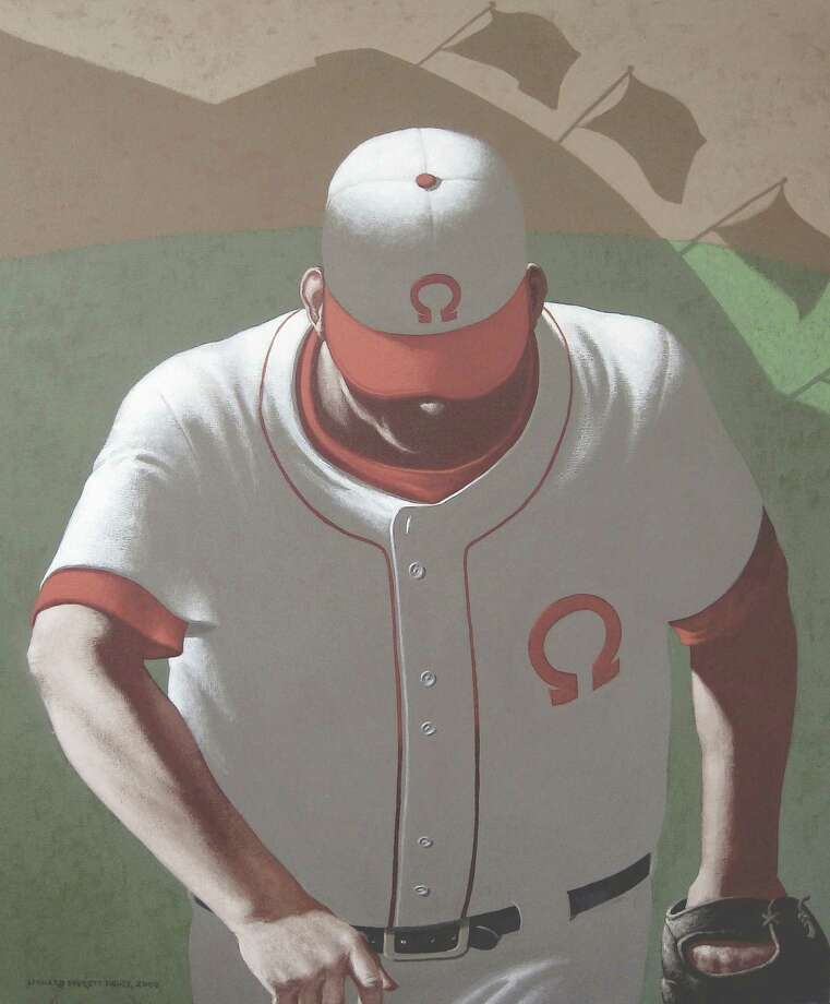 """Works by the renowned Westport artist Leonard Everett Fisher will be featured in """"Play Ball"""" at the Kershner Gallery in Fairfield. Above is """"The Closer"""" 2008. Photo: Contributed Photo"""