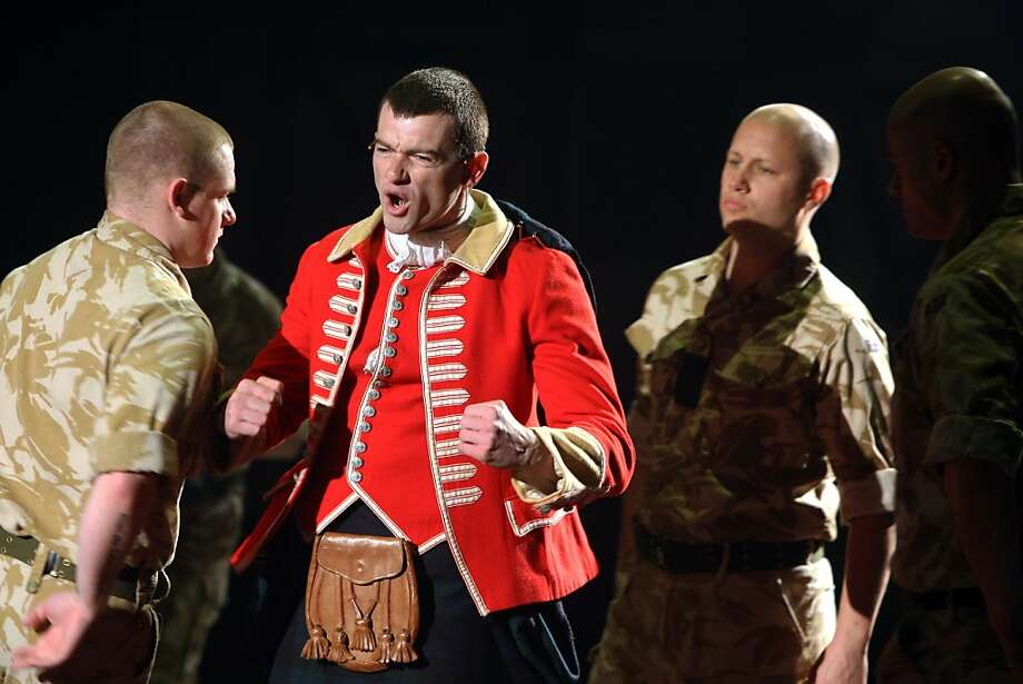 "Campbell (a.k.a Cammy, center, played by Stuart Martin) becomes the focal point of riveting ""Black Watch."" Photo: Jessica Olthof, The Chronicle"