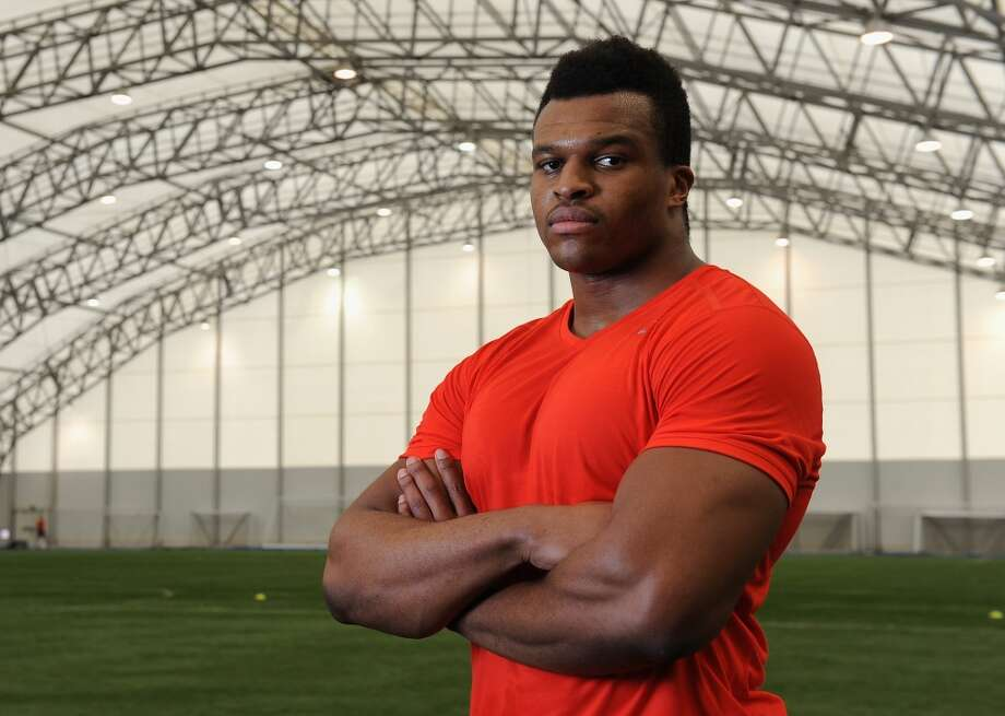 Defensive lineman Lawrence Okoye