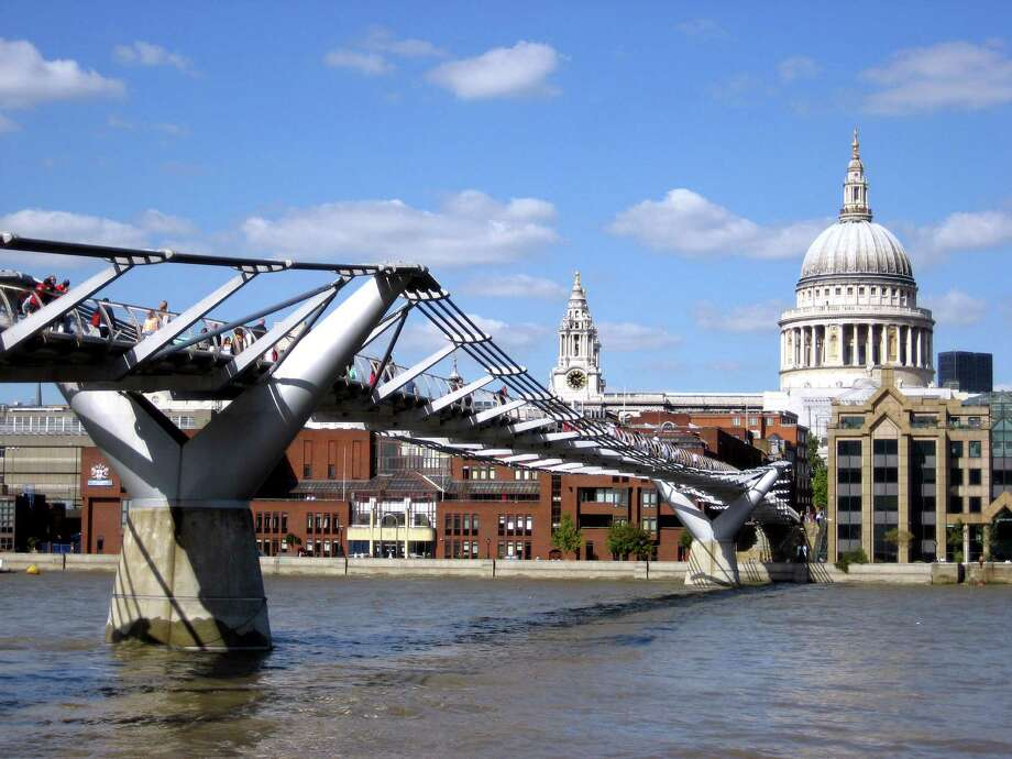 The pedestrian-only Millennium Bridge leads over the Thames to Christopher Wren's masterpiece, St. Paul's Cathedral, which he labored over for more than 40 years. Photo: Cameron Hewitt, Ricksteves.com