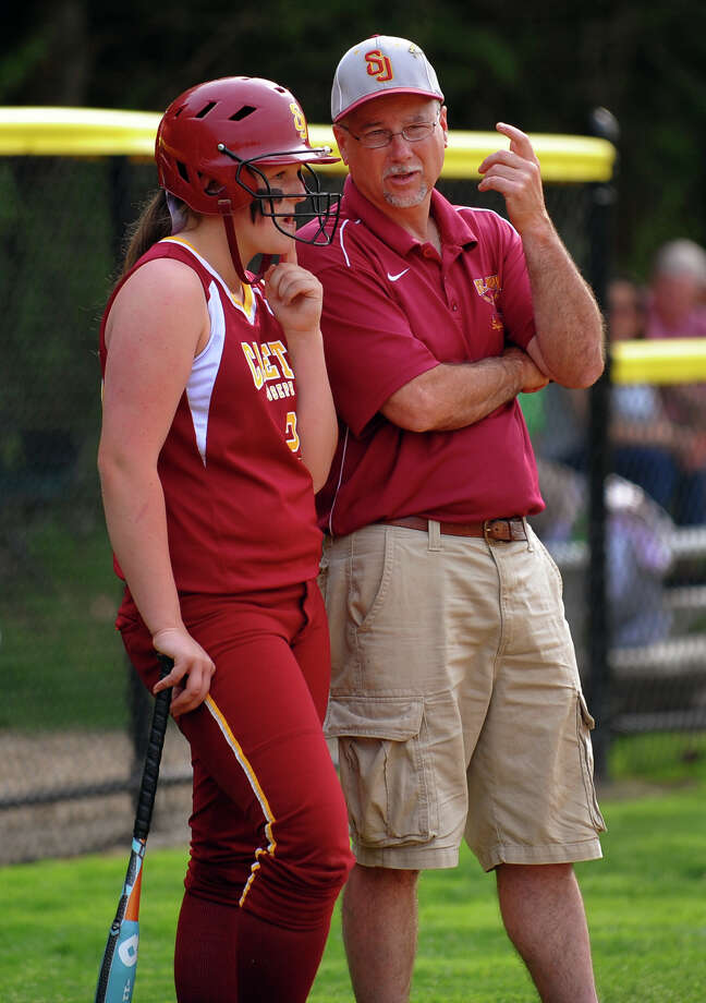 St. Joseph Head Coach Jeff Babineau, during softball action against Stamford in Trumbull, Conn. on Friday May 10, 2013. Photo: Christian Abraham / Connecticut Post