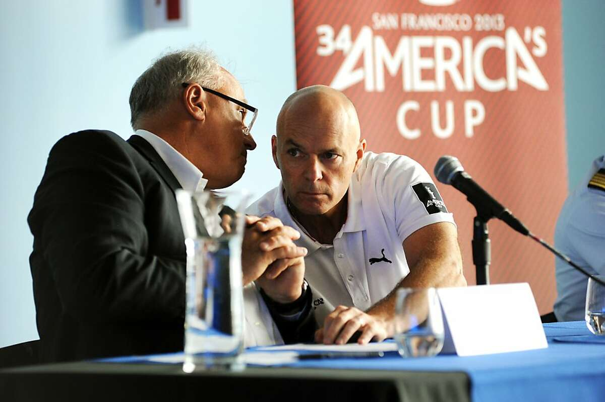 Iain Murray(L), CEO America's Cup Race Management speaks to Stephen Barclay, CEO of America's Cup Event Authority during a press conference at the America's Cup headquarters at Pier 27 in San Francisco, CA Friday May 10th, 2013.