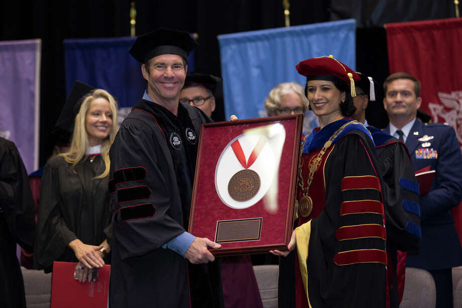 Dennis Quaid  was among the recipients of the President's Medallion at the University of Houston Friday during spring commencement ceremonies. He is pictured with UH president Renu Khator, right. Photo: Thomas Campbell