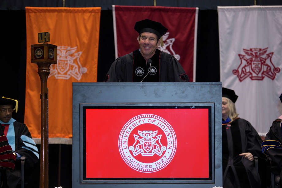Dennis Quaid  was among the recipients of the President's Medallion at the University of Houston Friday during spring commencement ceremonies. Photo: Thomas Campbell