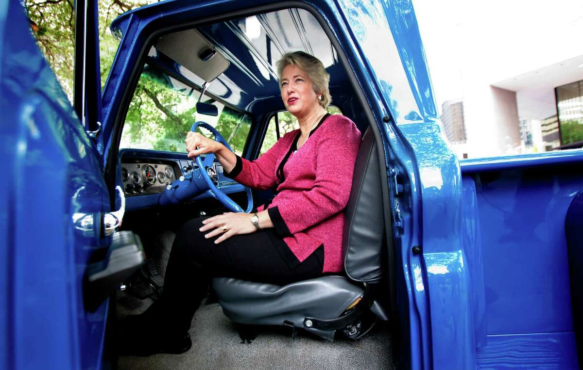 Mayor Annise Parker sits in a 1965 Chevy C-10 Stepside during the launch this week of the annual Click It or Ticket campaign.