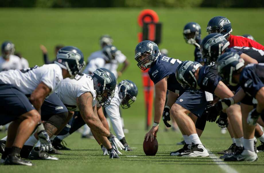Players line up for a scrimmage on the first day of the Seahawks Rookie Minicamp Friday, May 10, 2013, at the Virginia Mason Athletic Center in Renton. Photo: JORDAN STEAD, SEATTLEPI.COM / SEATTLEPI.COM