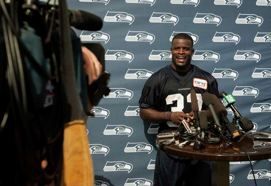 Running back Christine Michael answers questions from media following the first day of the Seahawks Rookie Minicamp Friday, May 10, 2013, at the Virginia Mason Athletic Center in Renton. Photo: JORDAN STEAD, SEATTLEPI.COM / SEATTLEPI.COM
