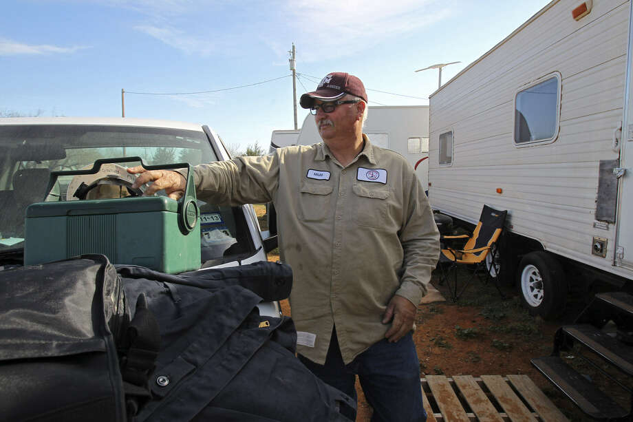 When it comes to housing, oil field driver Sonny Miles is among the lucky ones.  He lives in a company-provided travel trailer in Cotulla, then returns to his home in East Texas for breaks. Photo: San Antonio Express-News