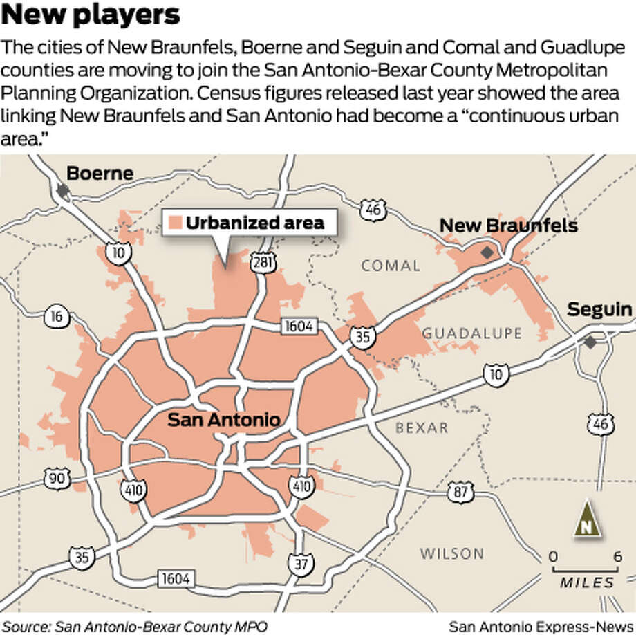 "The cities of New Braunfels, Boerne and Seguin and Comal and Guadlupe counties are moving to join the San Antonio-Bexar County Metropolitan Planning Organization. Census figures released last year showed the area linking New Braunfels and San Antonio had become a ""continuous urban area."" Photo: Harry Thomas"