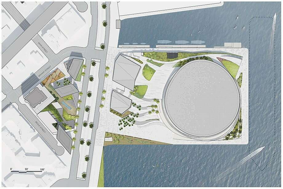 The development that the owners of the Golden State Warriors which had wanted to build on Piers 30-32. The large circle is the proposed 18,000 seat area. The block on the inland side of the Embarcadero would include a hotel and a residential mid-rise. Photo: Courtesy Golden State Warriors