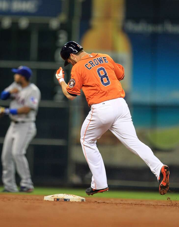Trevor Crowe of the Astros runs the bases after hitting a home run in the second inning.