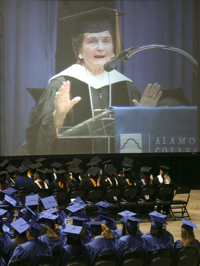 Former Mayor Lila Cockrell, 91, told St. Philip's College graduates it's time to set new goals, and reminded them that keeping a sense of humor is all-important no matter what they do. Photo: Cynthia Esparza / For The San Antonio Express-News