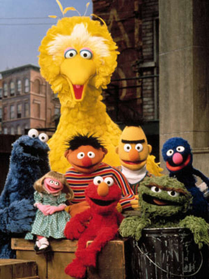''Sesame Street'' crew in 1993 (L-R): Cookie Monster, Prairie Dawn, Big Bird, Ernie, Elmo, Bert, Oscar the Grouch and Grover. / Courtesy Everett Collection