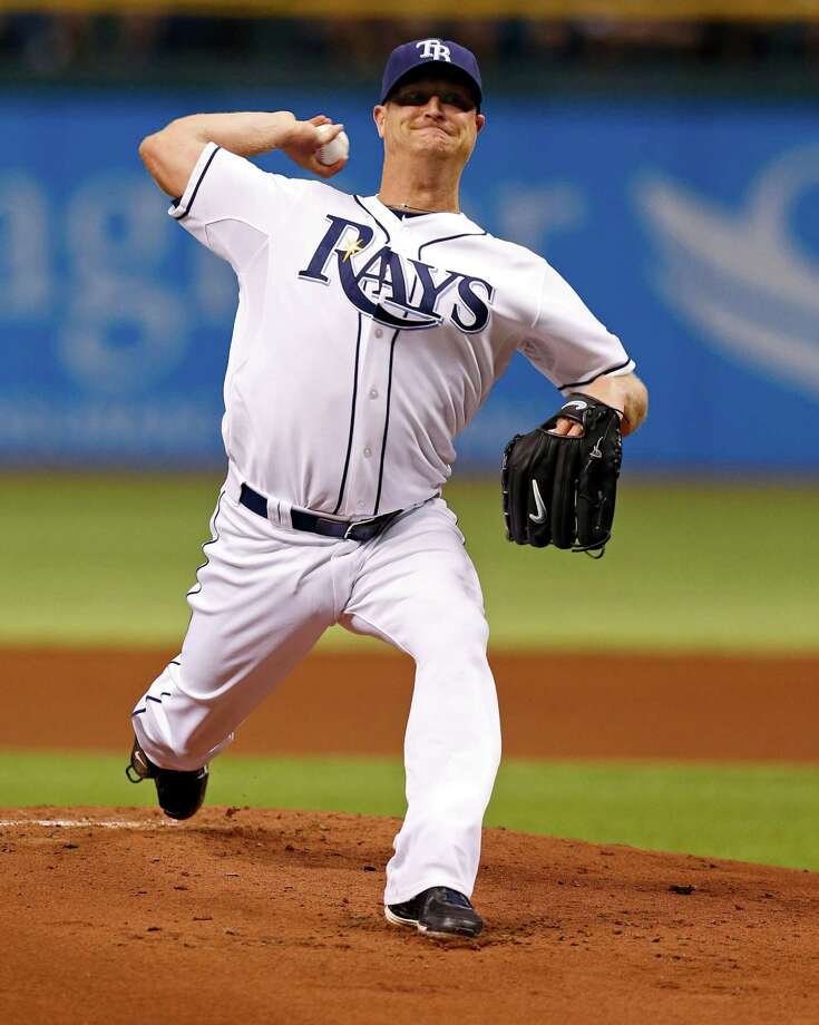 Tampa Bay Rays starting pitcher Alex Cobb throws during the first inning of a baseball game against the San Diego Padres, Friday, May 10, 2013, in St. Petersburg, Fla. (AP Photo/Mike Carlson) Photo: Mike Carlson