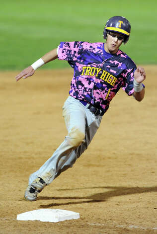 Troy's Kyle Halusic rounds third base during their Coaches vs. Cancer baseball game against CBA on Friday, May 10, 2013, at Joseph L. Bruno Stadium in Troy, N.Y. Troy wins 5-2. (Cindy Schultz / Times Union) Photo: Cindy Schultz / 00022362A