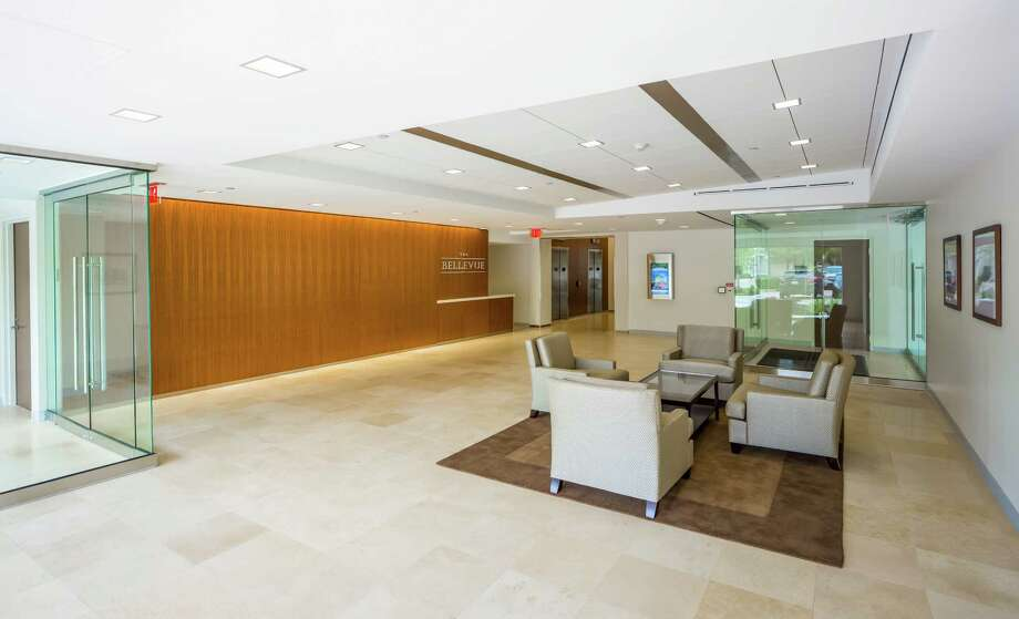 The Bellevue features a new main lobby with lots of glass in the design after a major renovation by Stream Realty Partners and its joint-venture owner, DRA Advisors. Photo: Courtesy Photo