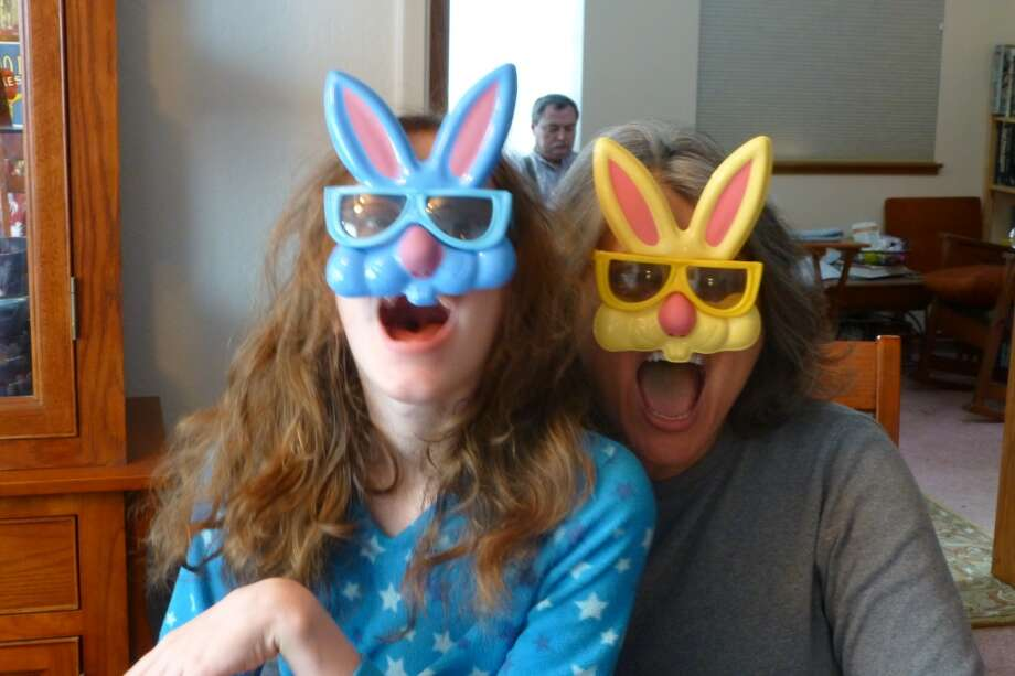 And this mother and daughter wear rabbit masks, because why not? Photo: Sky Wallace
