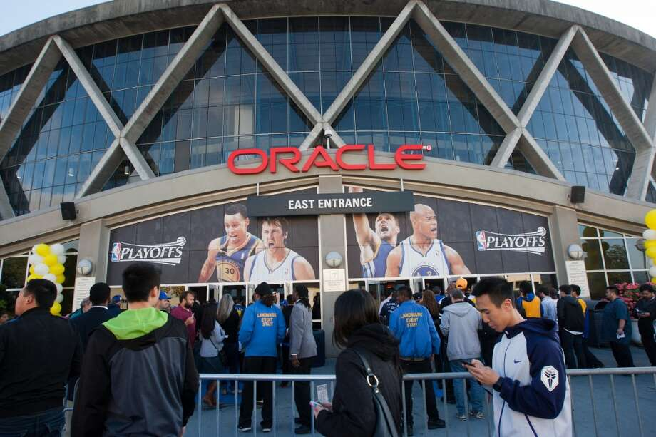 Fans line up to enter before the start of game 3 of the NBA Western Conference Semifinals between the Golden State Warriors and  the San Antonio Spurs at Oracle Arena, in Oakland, Calif. on May 10, 2013.