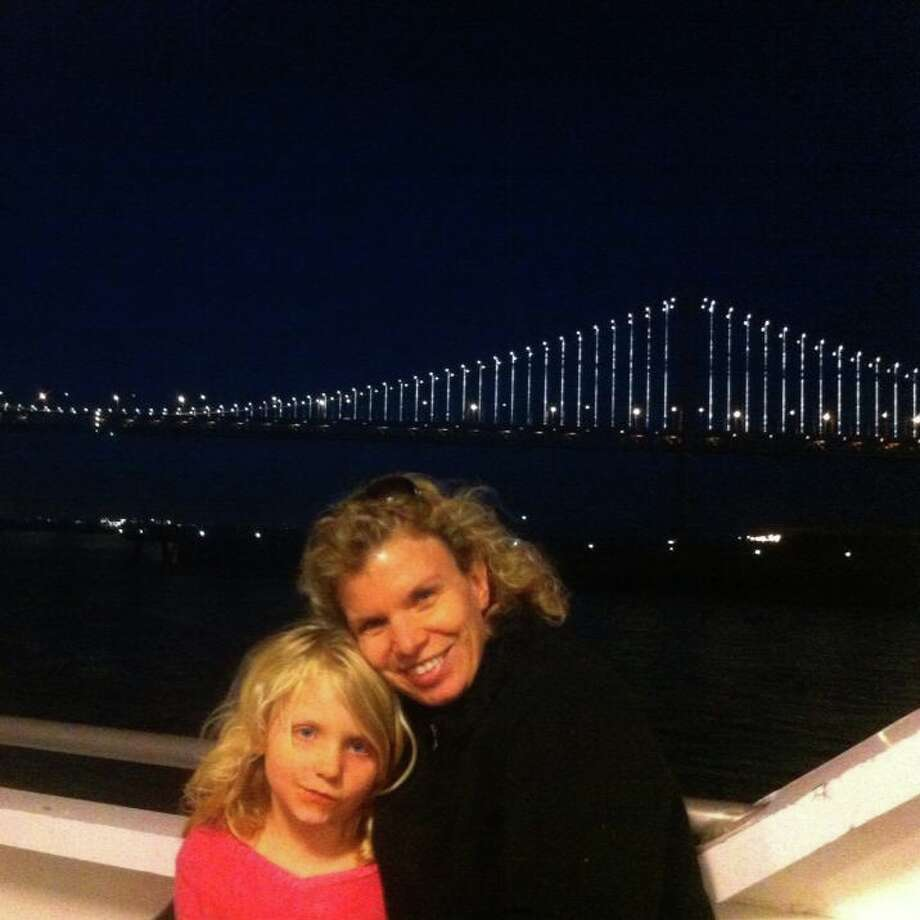 And this mother and daughter went to see the Bay Bridge light show together. Photo: Laura Millet