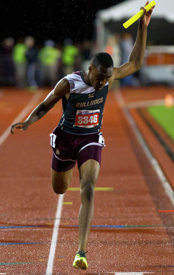 Humble Summer Creek's Aaron Sharp makes his way across the finish line of the 4A Boys 4x200 Meter Relay during the UIL High School State Track Meet at Mike A. Myers Stadium Friday, May 10, 2013, in Austin. Photo: Cody Duty, Houston Chronicle / © 2013 Houston Chronicle