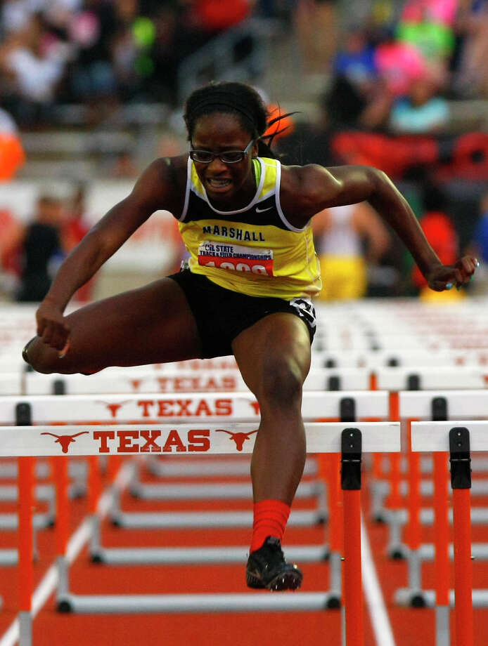 Fort Bend Marshall's Jaelin Hatton clears a hurdle during the 4A Girls 100 Meter Hurdles at the UIL High School State Track Meet at Mike A. Myers Stadium Friday, May 10, 2013, in Austin. Photo: Cody Duty, Houston Chronicle / © 2013 Houston Chronicle
