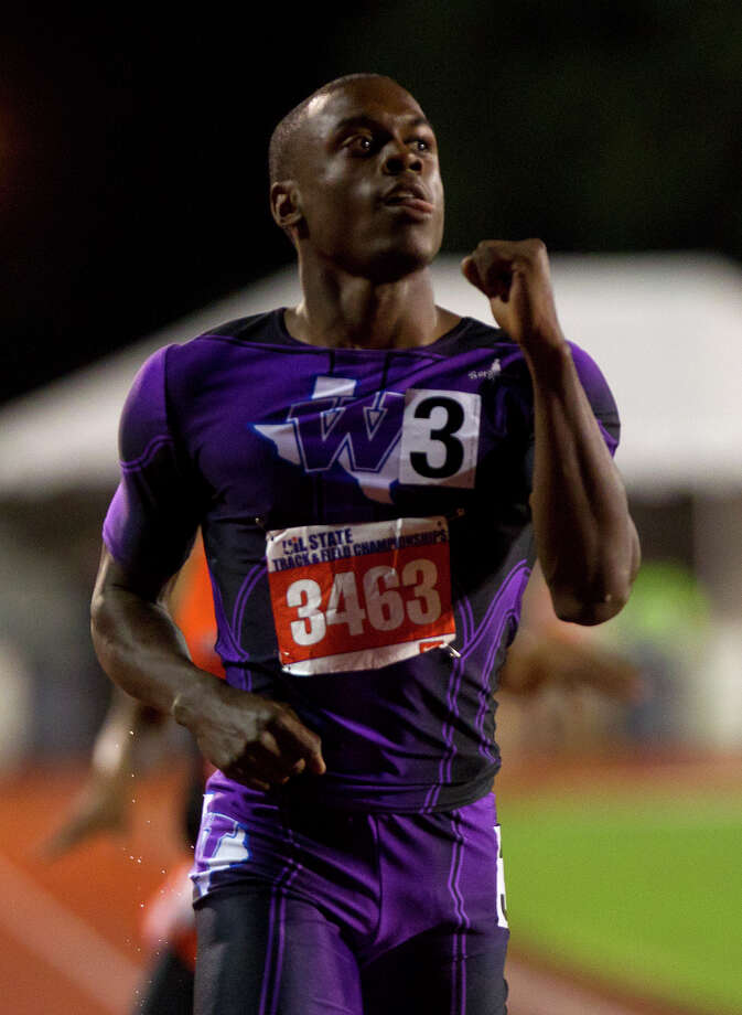 Willis High School's Chris Platt reacts after winning the 4A Boys 400 Meter Dash during the UIL High School State Track Meet at Mike A. Myers Stadium Friday, May 10, 2013, in Austin. Photo: Cody Duty, Houston Chronicle / © 2013 Houston Chronicle
